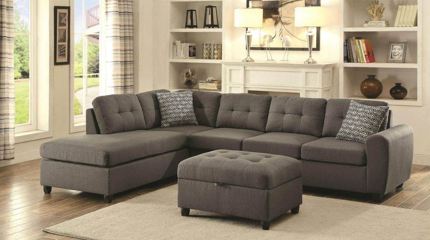 Living Room: Grey Tweed Sectional Sofa | Coaster Sofas | Coaster regarding Chenille Sectional Sofas (Image 17 of 30)