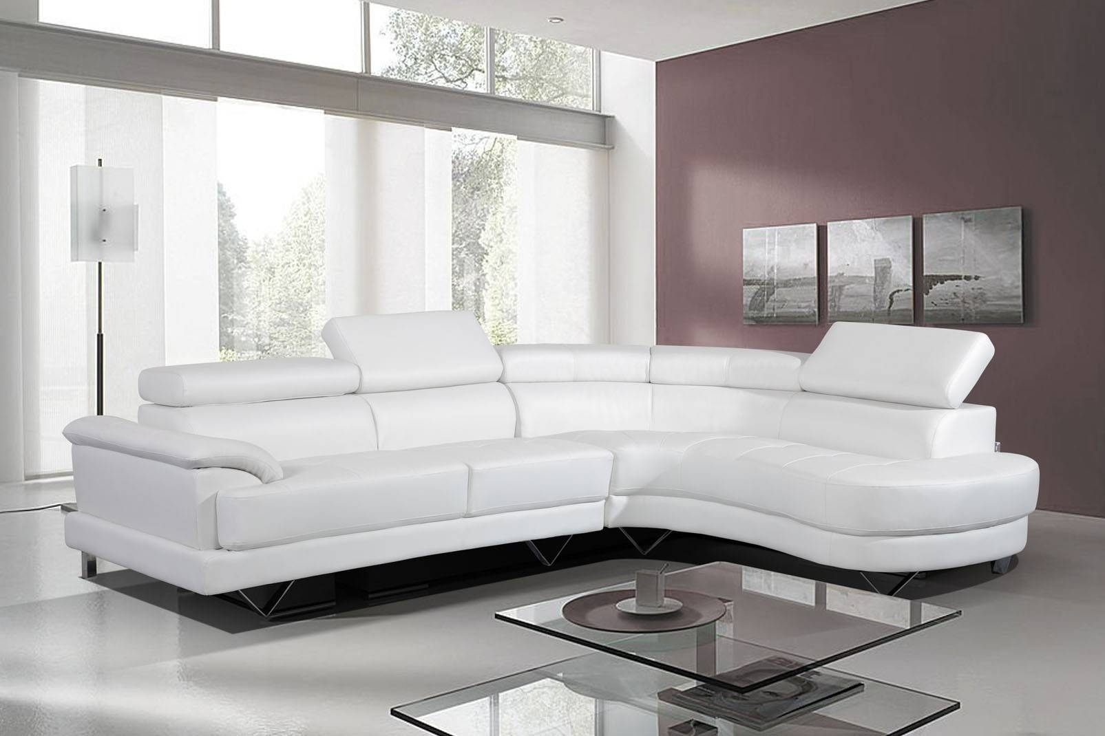 Living Room ~ Leather Couches Modern Sectional Leather Couch White in White Leather Sofas (Image 11 of 30)