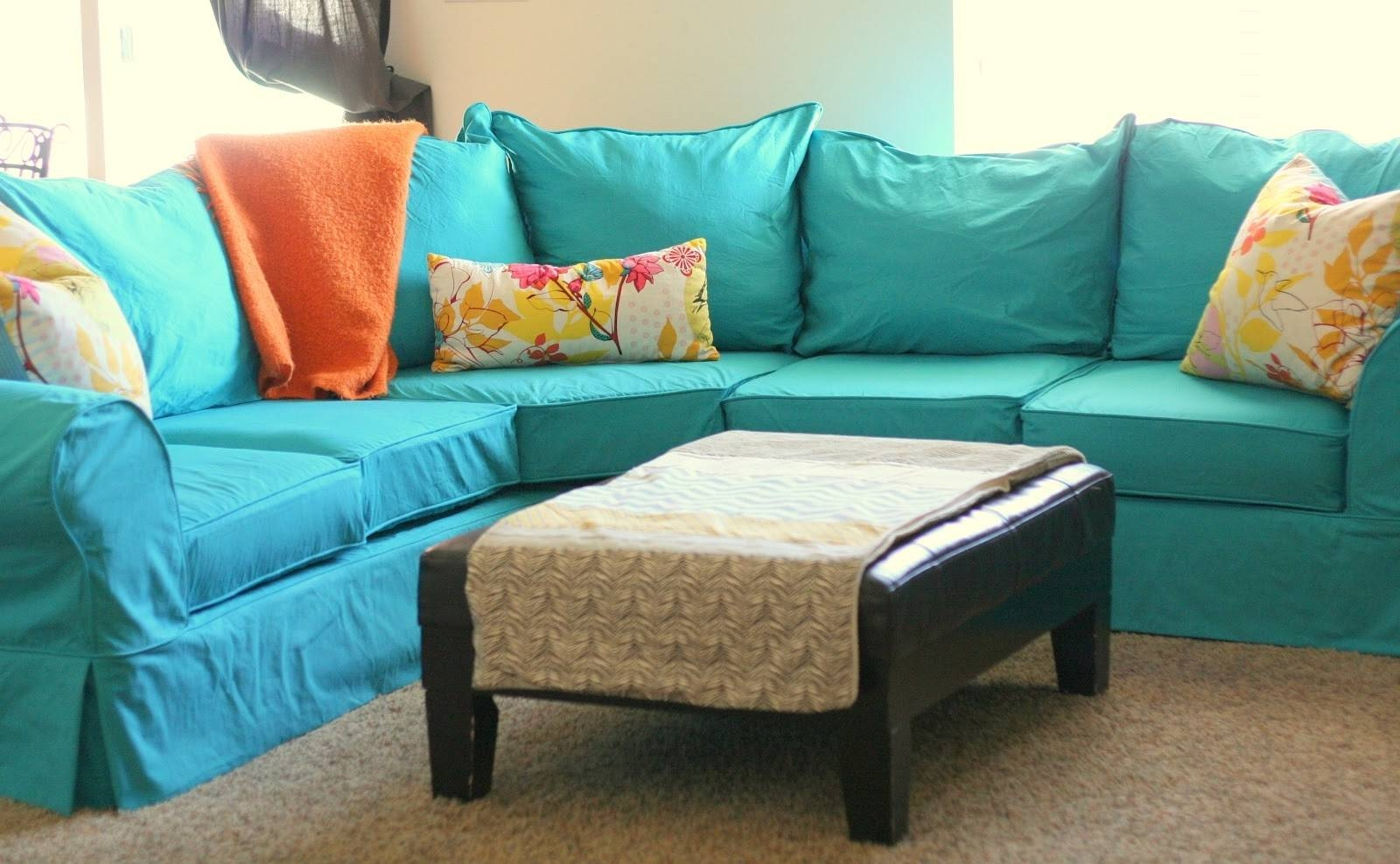 Living Room: Luxury L Shaped Couch Covers For Modern Living Room throughout Turquoise Sofa Covers (Image 18 of 30)