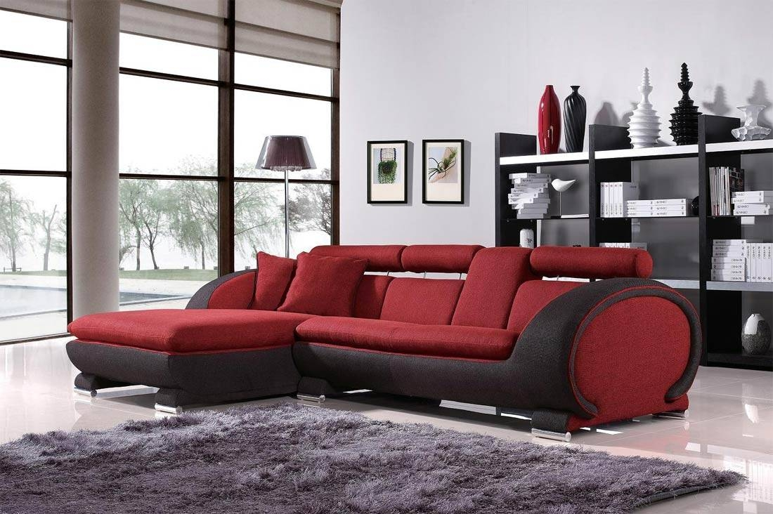 Living Room : Red Black Leather Sectional Sofa With Recliner And pertaining to Red Black Sectional Sofa (Image 18 of 30)