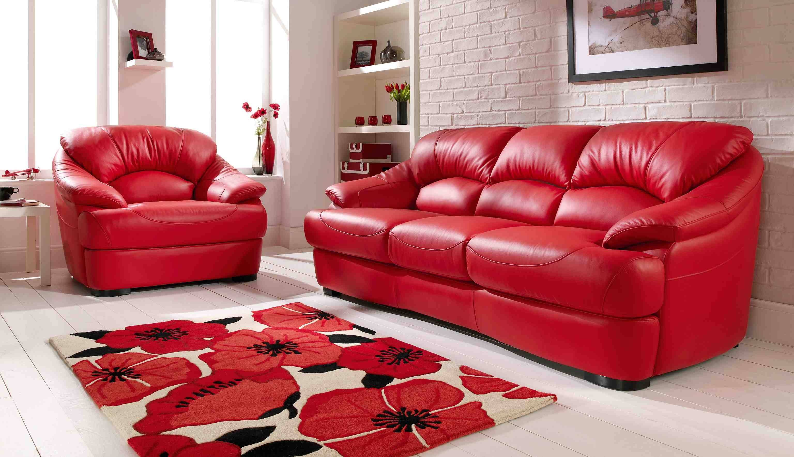 Living Room : Red Living Room Furniture Decorating Ideas With intended for Red Sofa Chairs (Image 13 of 30)