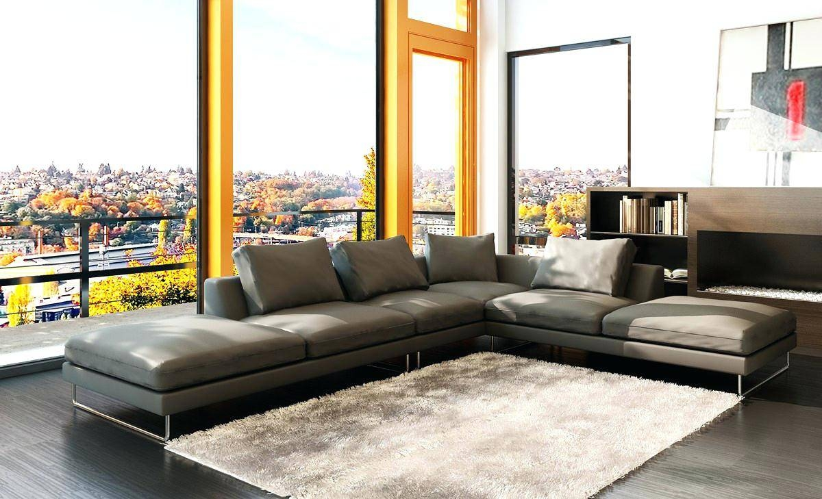 Living Room Sectionals 5051 Modern Grey Leather Sectional Sofa regarding Gray Leather Sectional Sofas (Image 23 of 30)