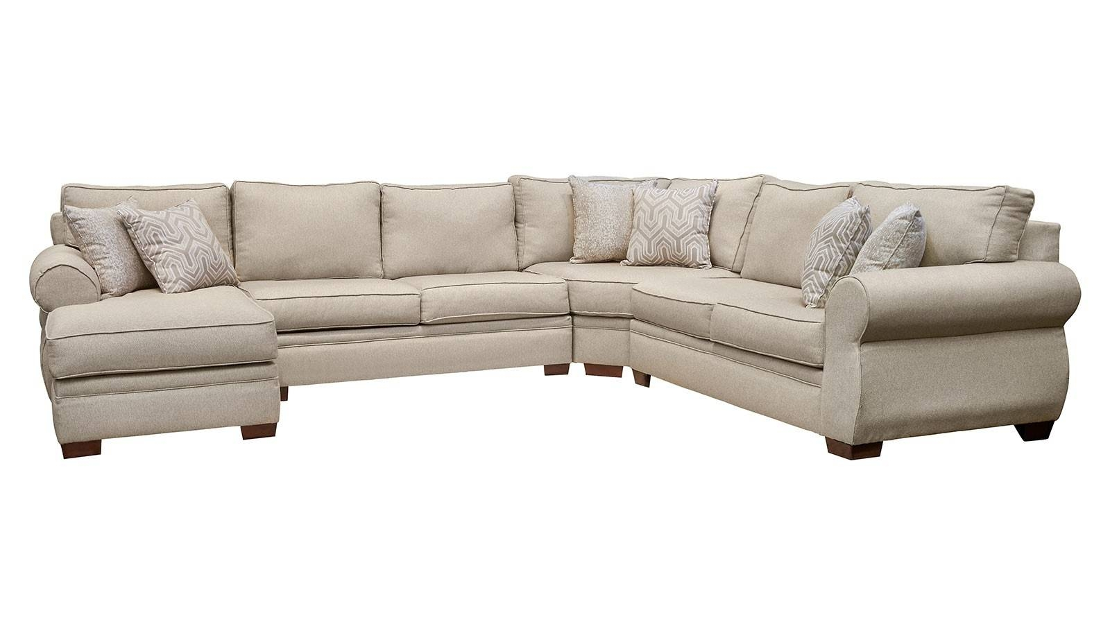 Living Room Sectionals | Gallery Furniture throughout Chenille and Leather Sectional Sofa (Image 12 of 30)
