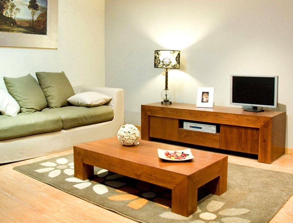 Living Room Using Wooden Tv Stand And Coffee Table And Sofa With pertaining to Coffee Tables and Tv Stands (Image 11 of 30)