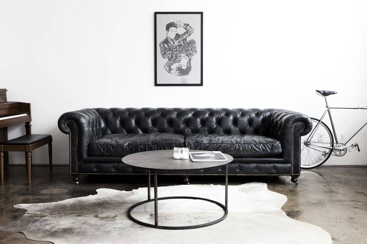 Living Room With Black Chesterfield Sofa And Round Coffee Table intended for Chesterfield Black Sofas (Image 16 of 30)