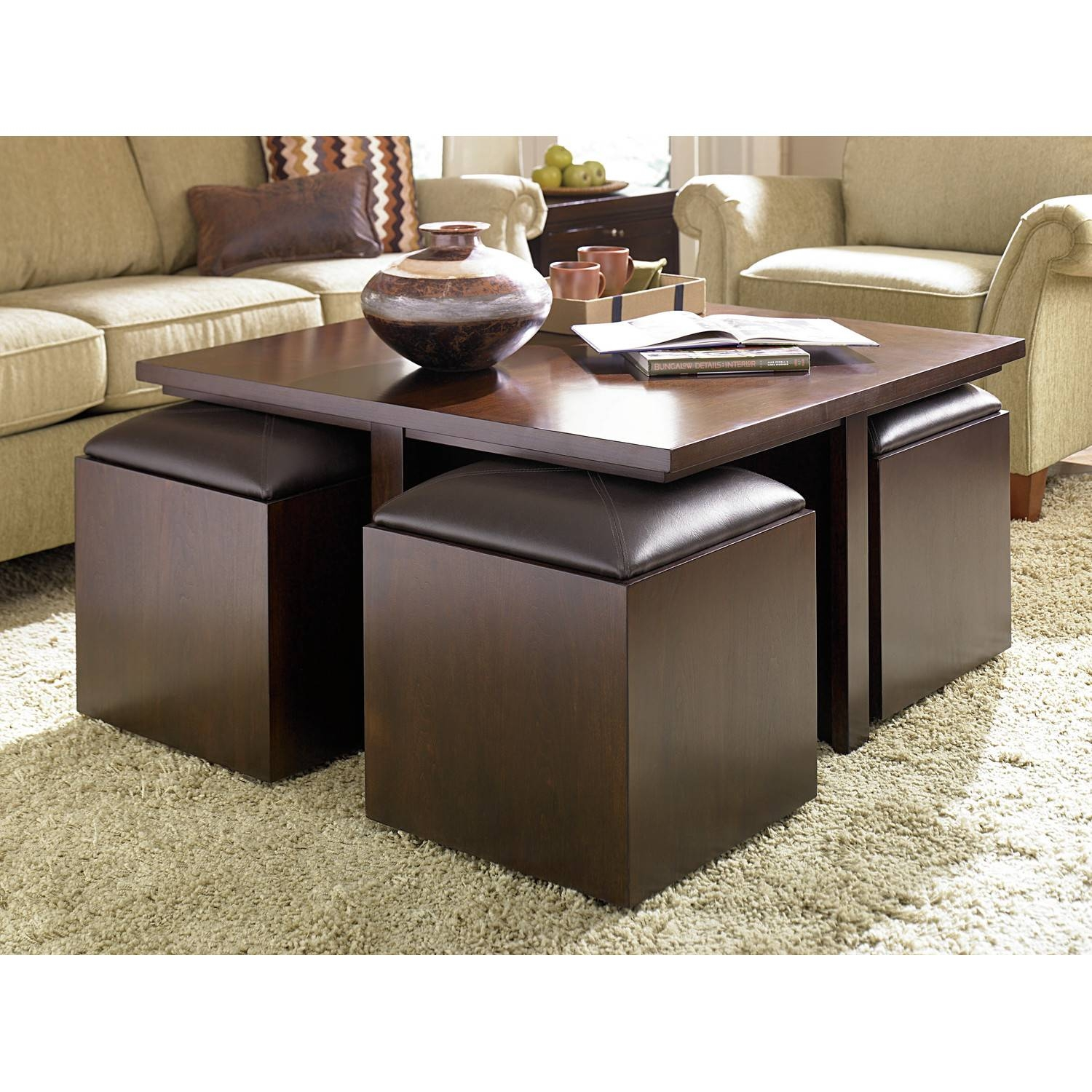 Living Room : Wonderful Ottoman Coffee Table Storage Design Ideas pertaining to Brown Leather Ottoman Coffee Tables With Storages (Image 26 of 30)