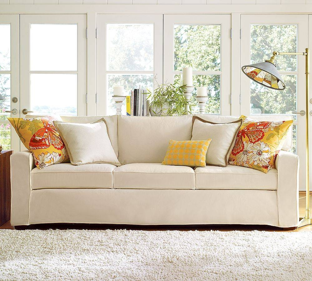 Living Rooms With Slip Covered Sofas - Carameloffers inside Contemporary Sofa Slipcovers (Image 23 of 30)