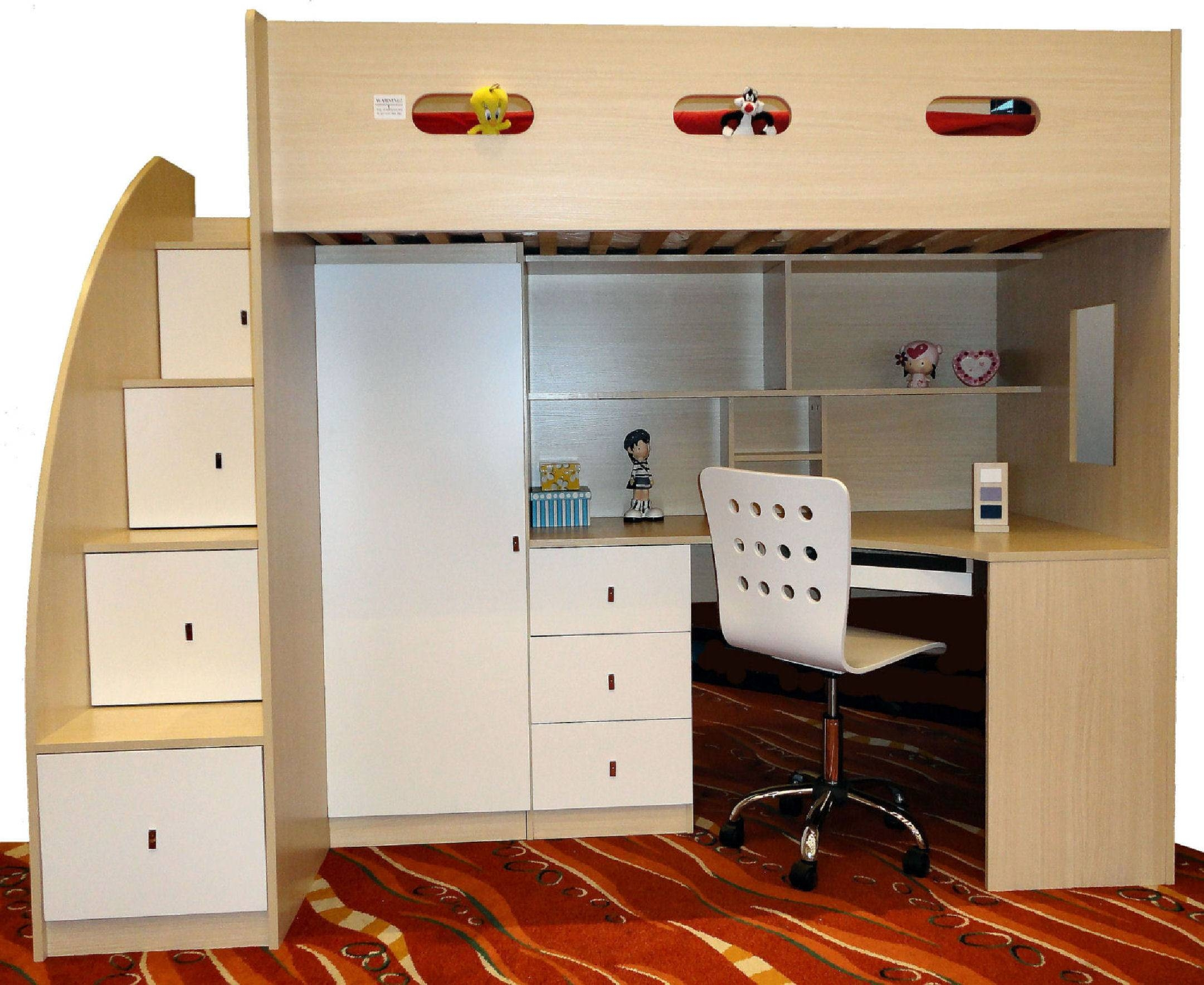 Loft Beds : Bunk Bed With Wardrobe Underneath 117 Kids Furniture intended for Childrens Bed With Wardrobes Underneath (Image 13 of 15)