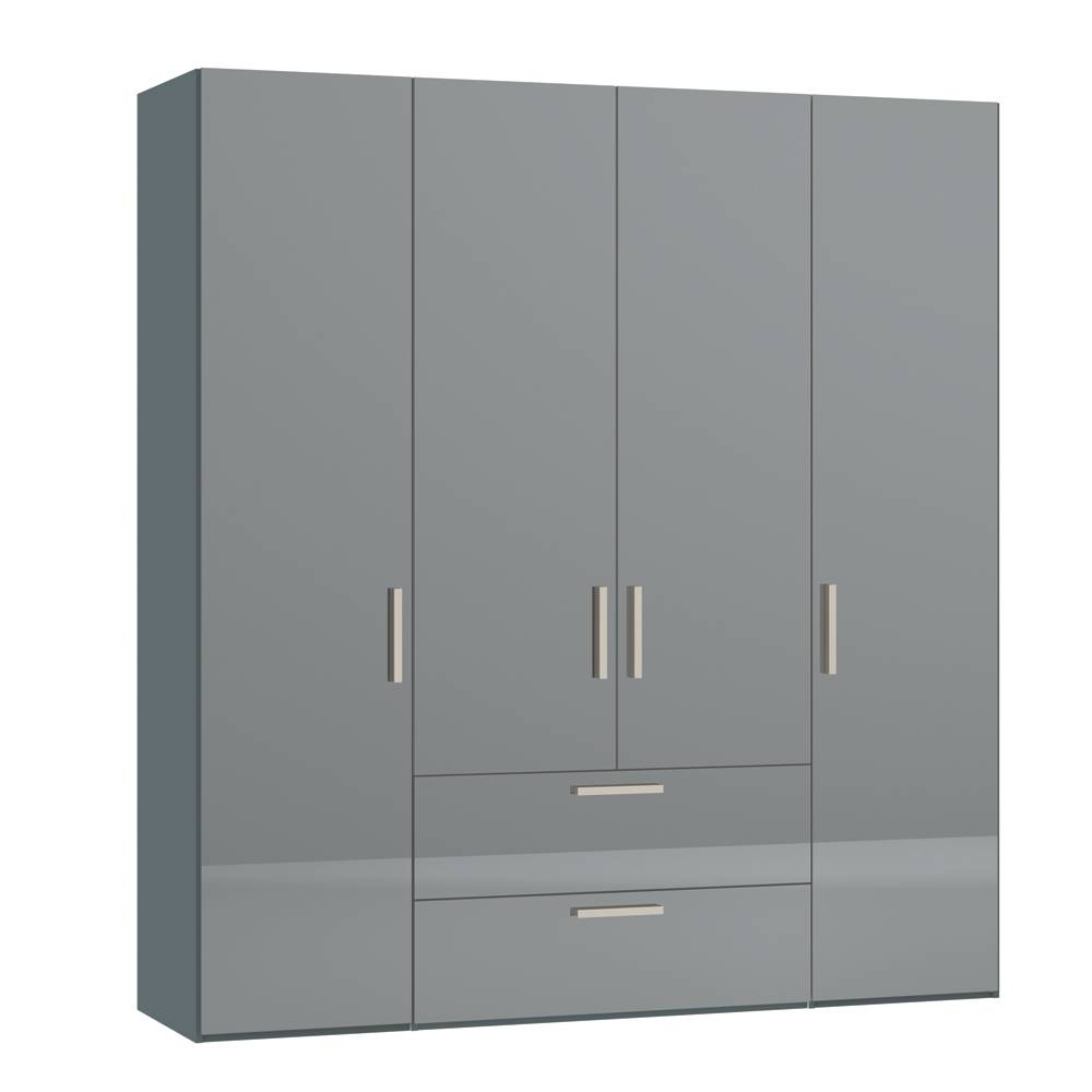 Loft Four Door Wardrobe With Drawers Dark Mirror – Dwell Pertaining To Wardrobes With Mirror And Drawers (View 9 of 15)