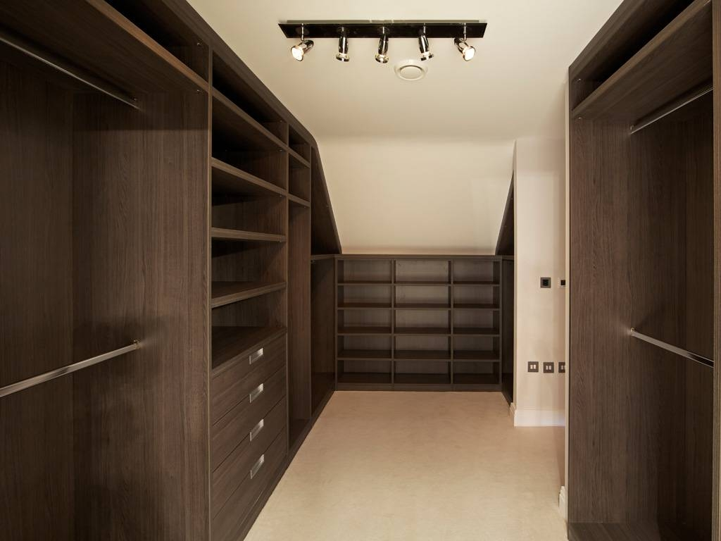 Loft Modern Walk In Wardrobe Dark Elm | Bespoke Furniture | Fitted intended for Dark Wood Wardrobes (Image 17 of 30)