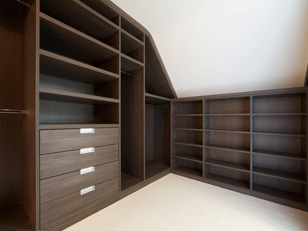 Loft Modern Walk In Wardrobe Dark Elm | Bespoke Furniture | Fitted with Dark Wardrobes (Image 17 of 30)