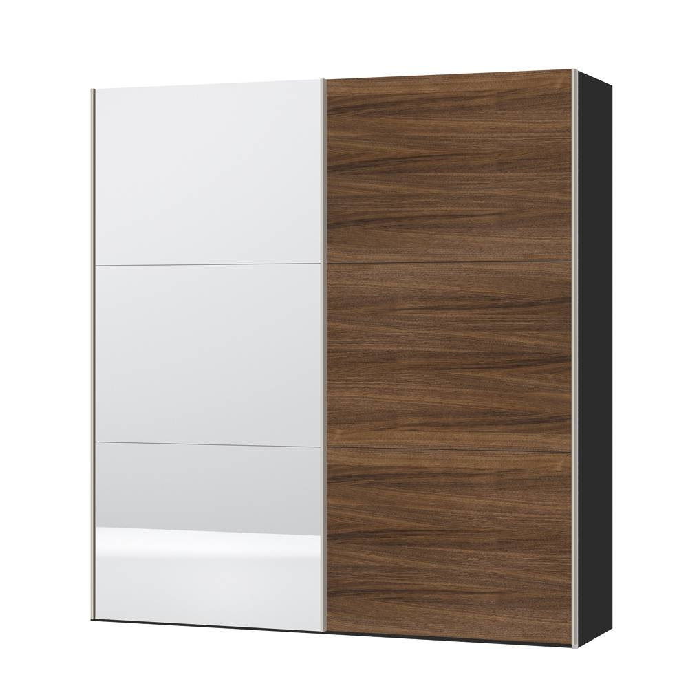 Loft Two Door Sliding Wardrobe Walnut And Mirror - Dwell for Two Door White Wardrobes (Image 5 of 15)