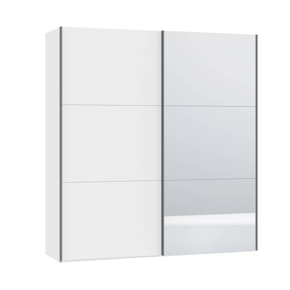 Loft Two Door Sliding Wardrobe White Gloss With Mirror - Dwell in White Gloss Sliding Wardrobes (Image 7 of 15)