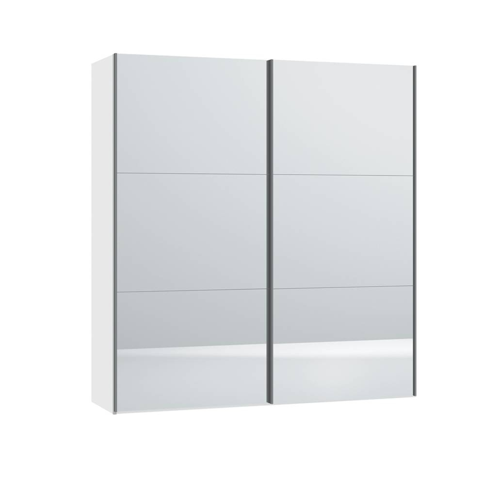 Loft Two Door Sliding Wardrobe With Mirrors - Dwell with regard to White Gloss Sliding Wardrobes (Image 8 of 15)