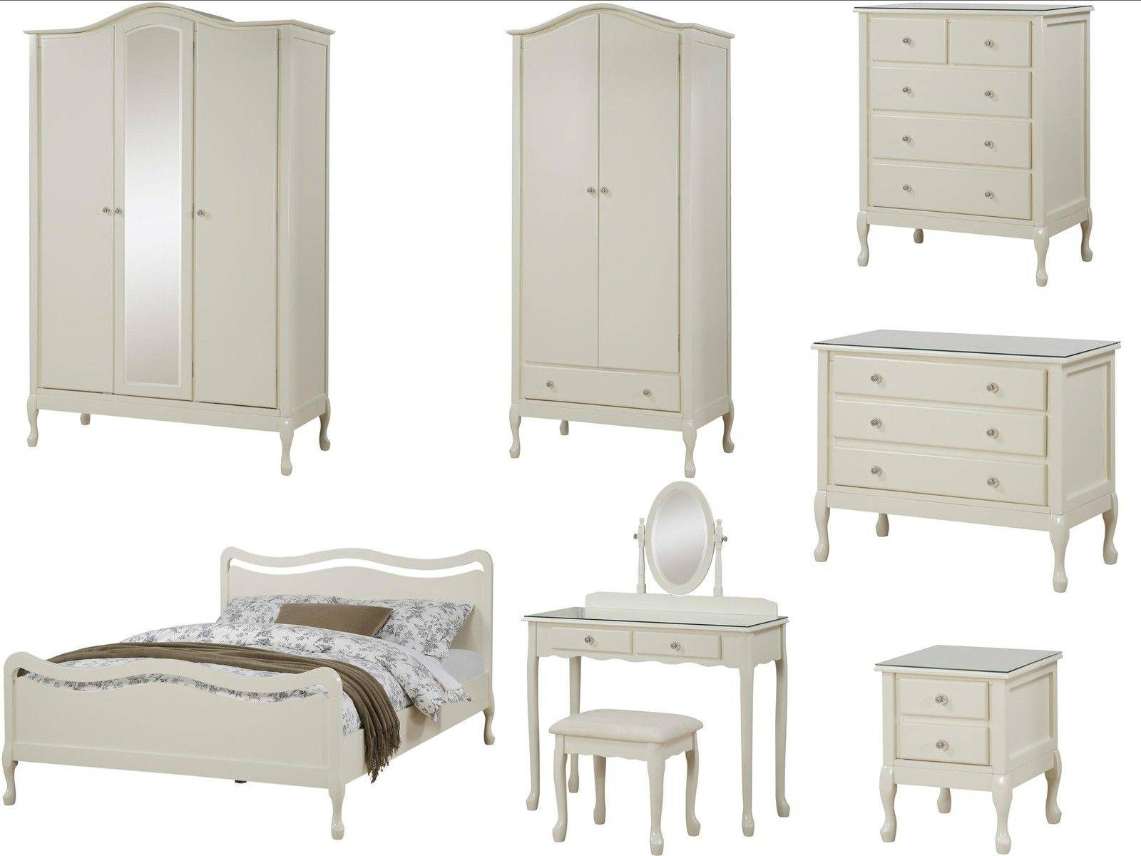 Loire Shabby Chic Ivory Bedroom Furniture - Wardrobe, Chest, Bed with regard to Ivory Wardrobes (Image 7 of 15)