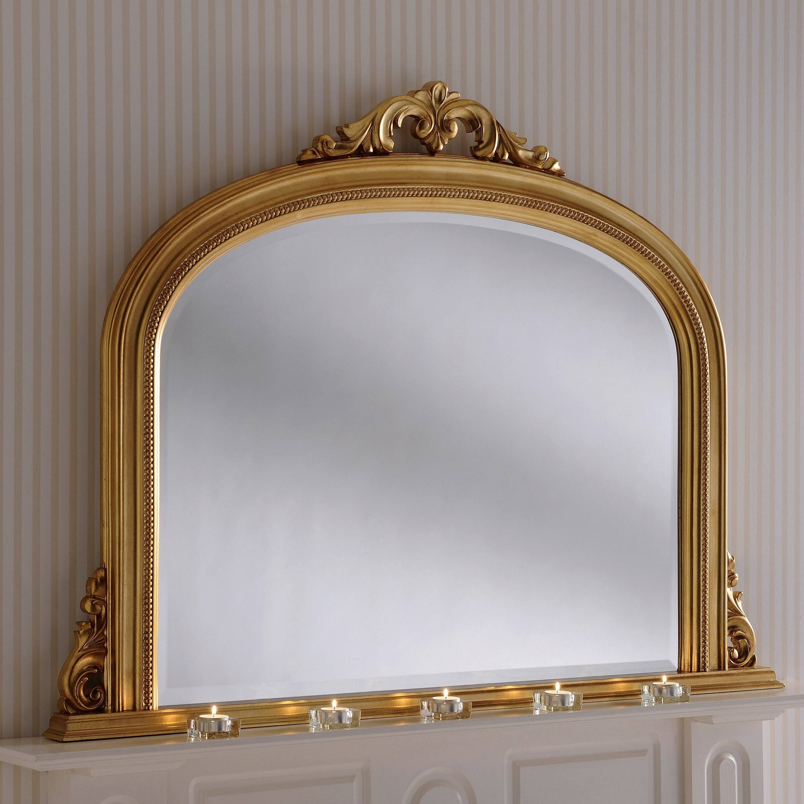 Lois Overmantle Mirror In Gold From £299 - Luxury Overmantle for Overmantel Mirrors (Image 16 of 25)