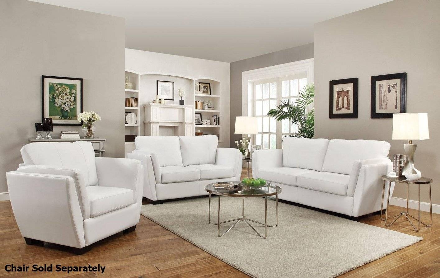 Lois White Leather Sofa And Loveseat Set - Steal-A-Sofa Furniture inside White Leather Sofas (Image 12 of 30)