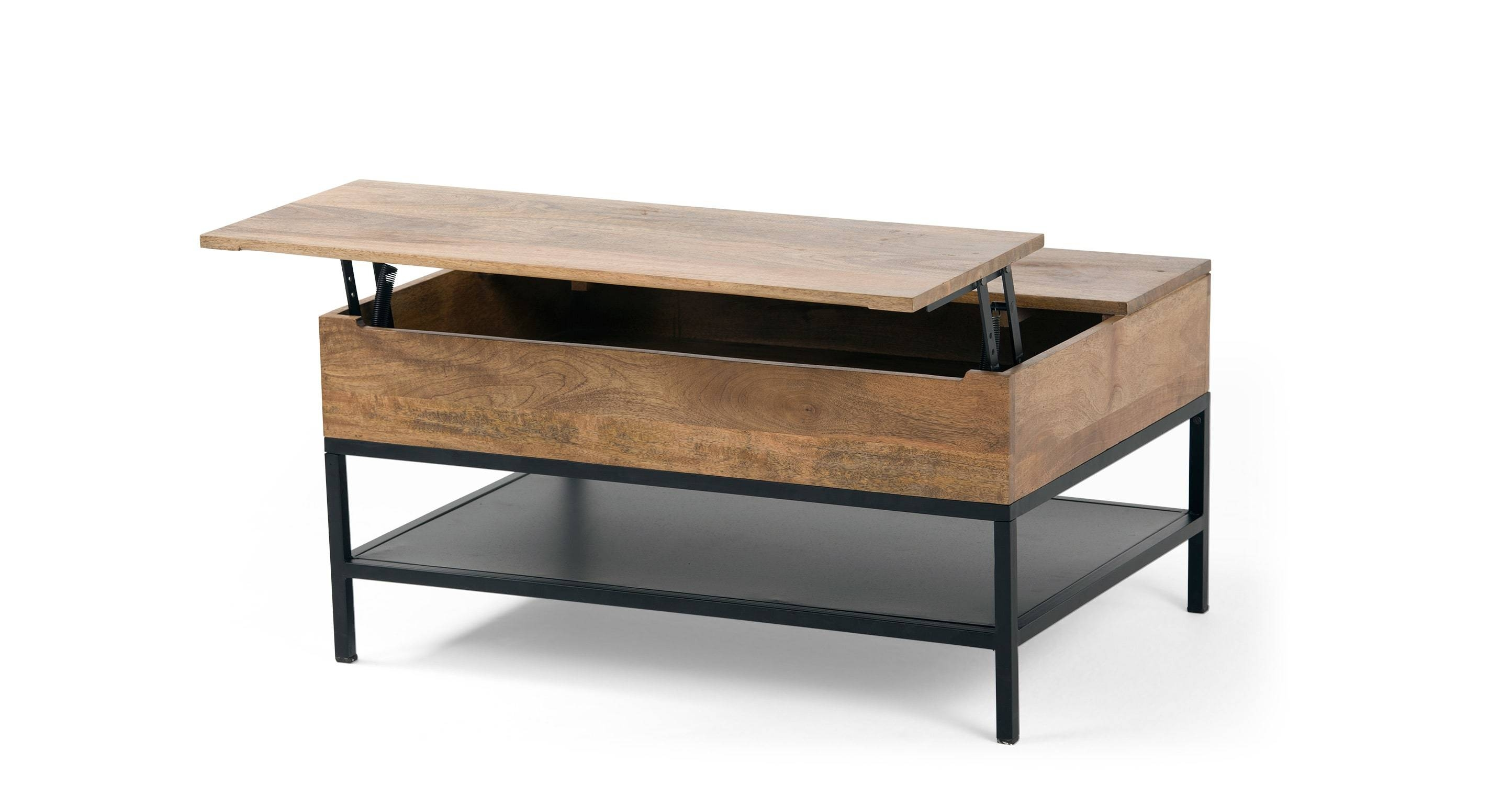 Lomond Lift Top Coffee Table With Storage, Mango Wood And Black throughout Mango Wood Coffee Tables (Image 16 of 30)