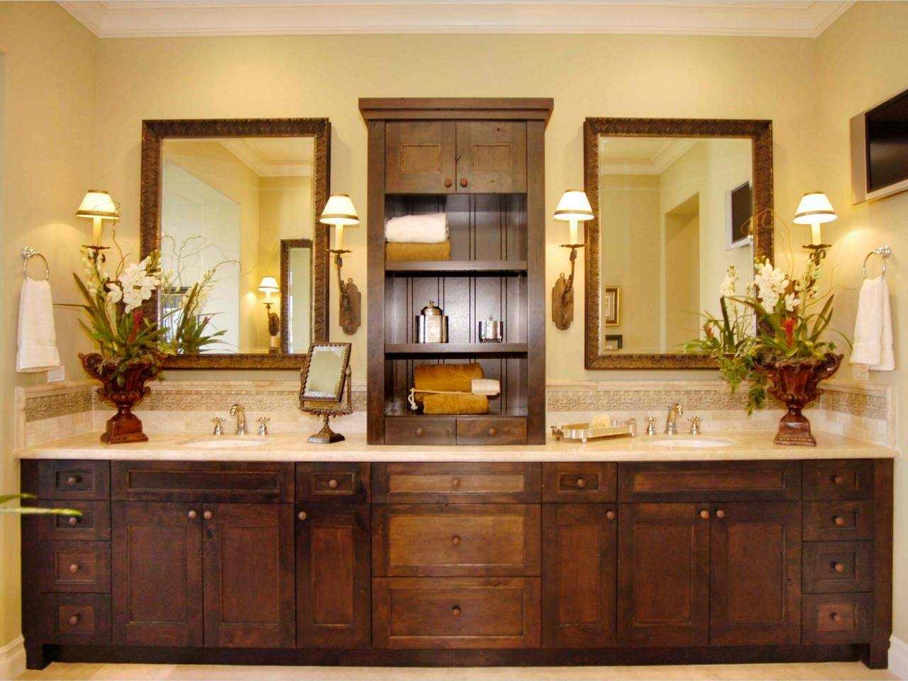 Long Brown Wooden Vanity With Double Sink On The Cream Top with regard to Long Brown Mirrors (Image 19 of 25)