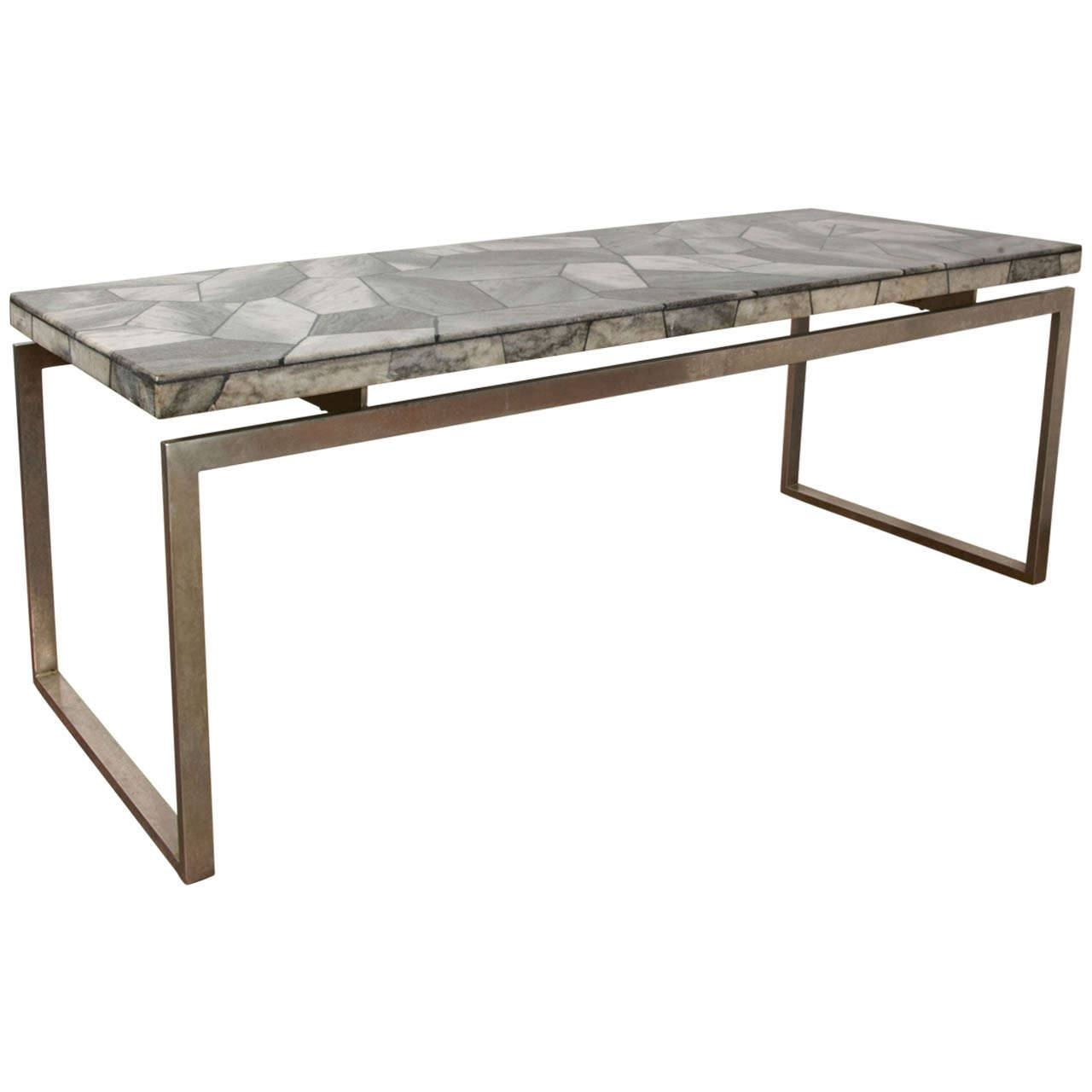 Long Narrow Coffee Table With Marble Top And Metal Base Design inside Marble and Metal Coffee Tables (Image 19 of 30)