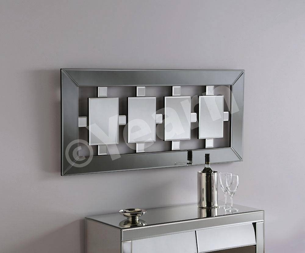 Long Rectangle Bevelled Wall Mirror With Square Center Feature with Feature Wall Mirrors (Image 16 of 25)