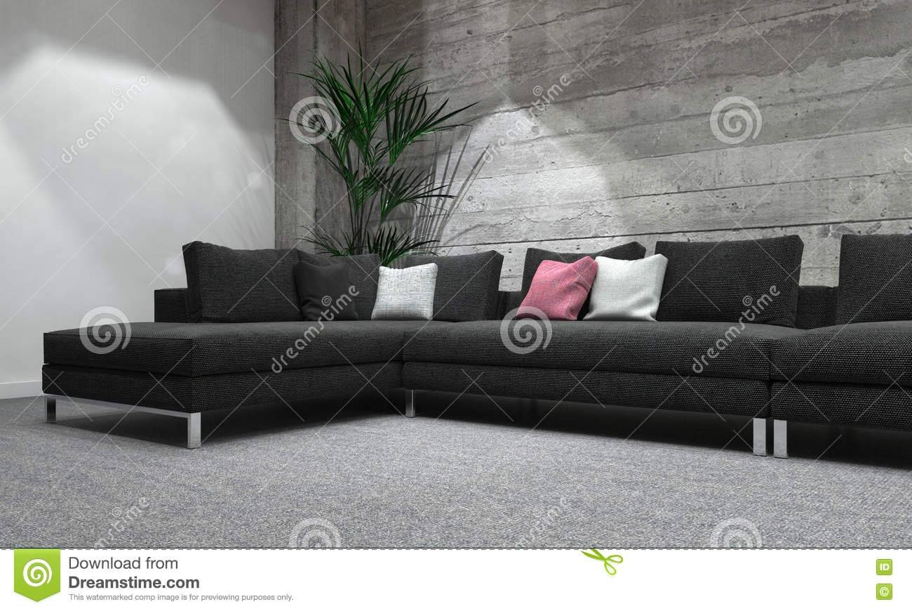 Long Sofa In Modern Room With Rustic Wood Wall Stock Illustration inside Long Modern Sofas (Image 18 of 30)