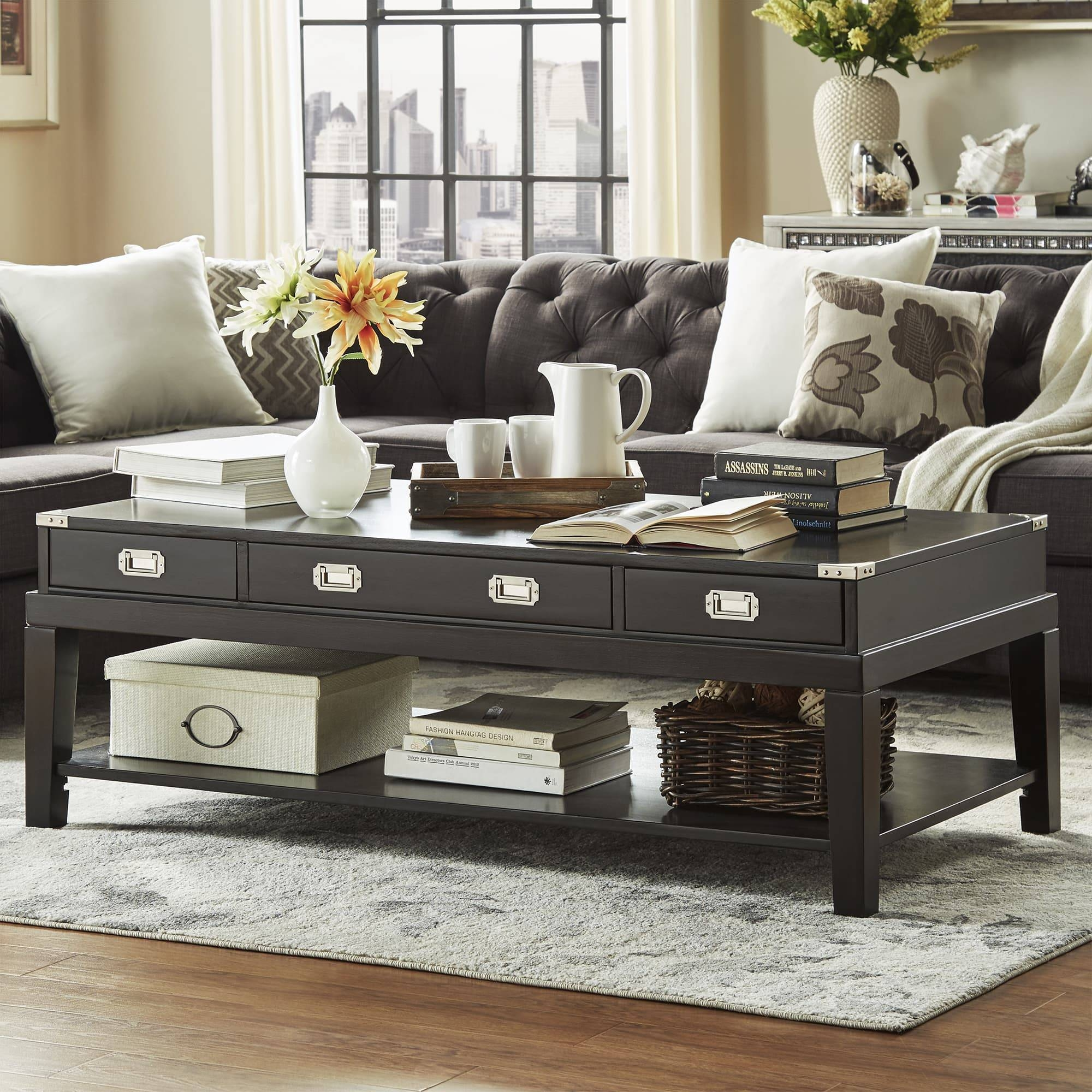 Lonny Wood Storage Accent Campaign Coffee Tableinspire Q for Campaign Coffee Tables (Image 18 of 30)