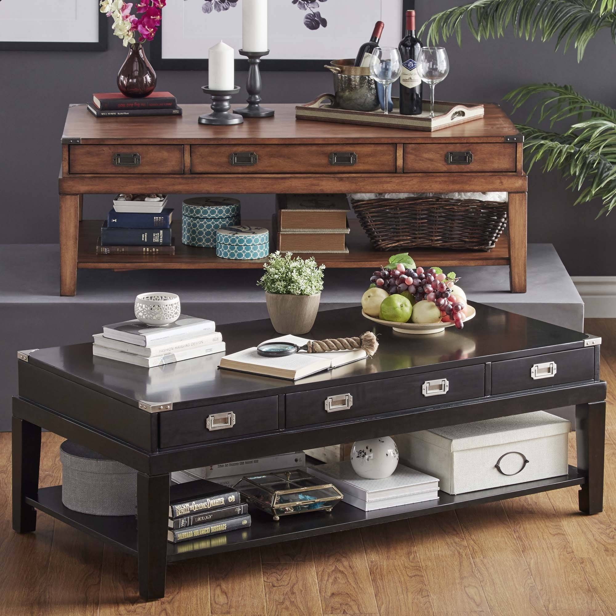 Lonny Wood Storage Accent Campaign Coffee Tableinspire Q in Campaign Coffee Tables (Image 19 of 30)