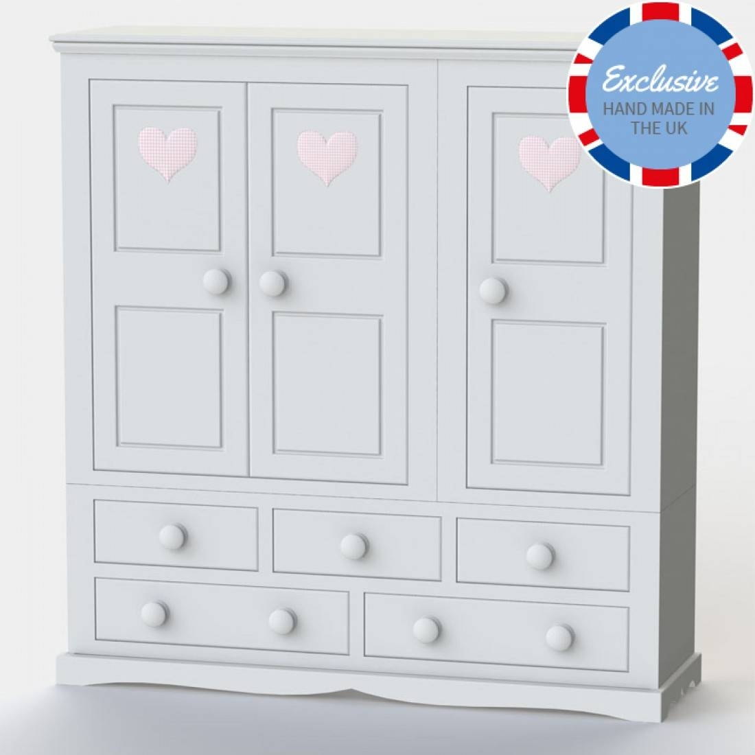 Looby Lou 3 Door | Childrens Wardrobe | Girls Wardrobe inside Chest Of Drawers Wardrobes Combination (Image 12 of 15)