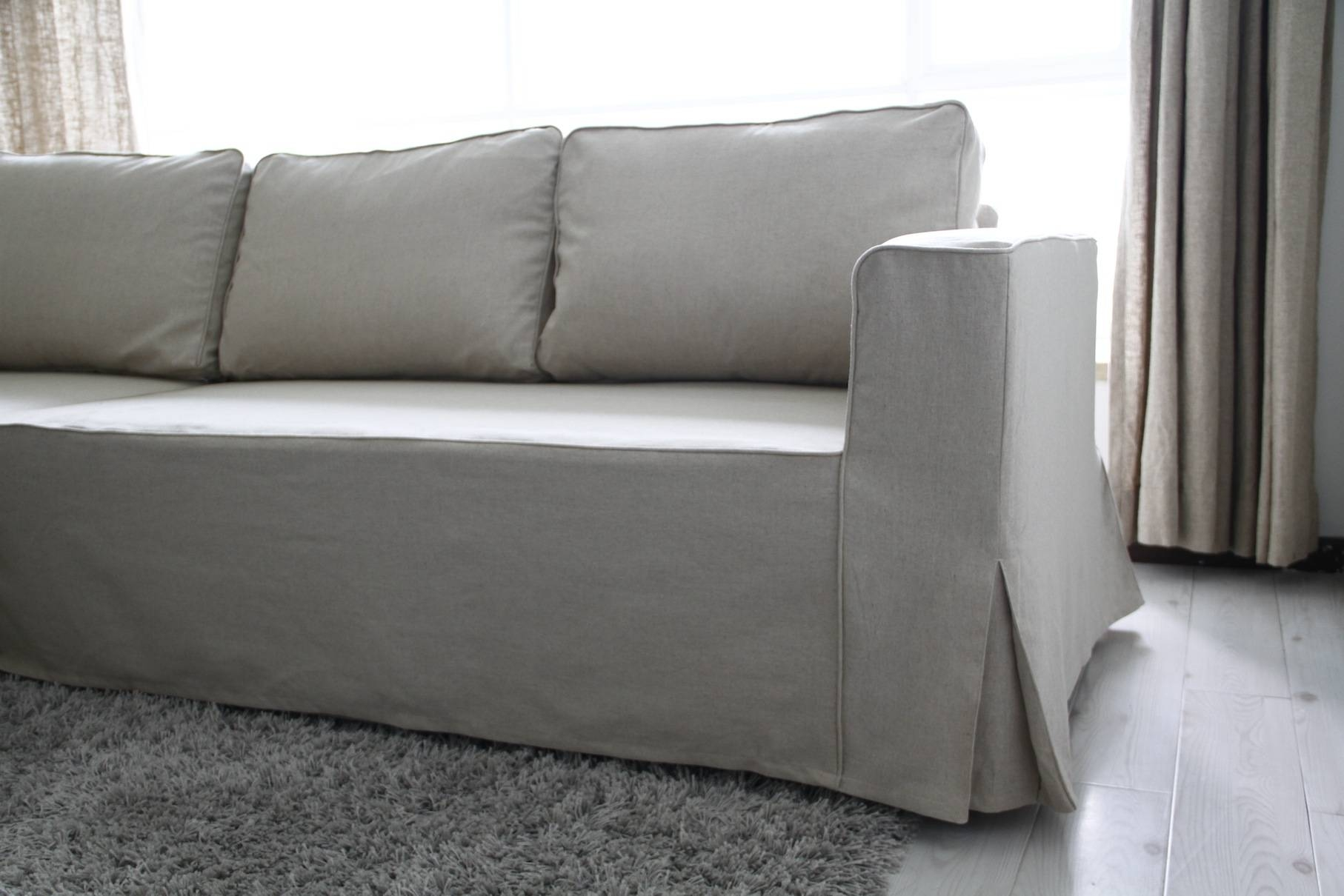 Loose Fit Linen Manstad Sofa Slipcovers Now Available Pertaining To Sofa Armchair Covers (View 25 of 30)