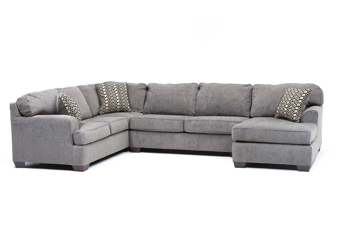 Loric Smoke 3 Piece Sectional W/raf Chaise - Living Spaces for Cuddler Sectional Sofa (Image 16 of 30)