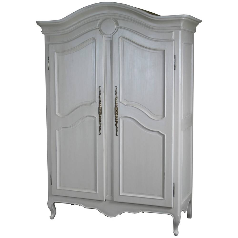 Louis French Carved 2 Door Armoire | Antique White French Armoires with regard to French Style Wardrobes (Image 9 of 15)