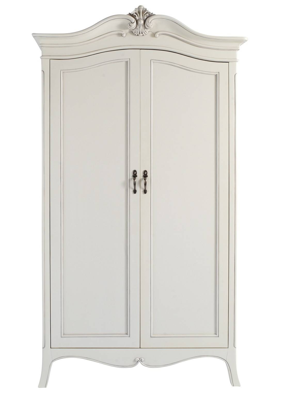 Louis French Ivory Painted 2 Door Double Wardrobe | Oak Furniture Uk pertaining to French Style White Wardrobes (Image 10 of 15)