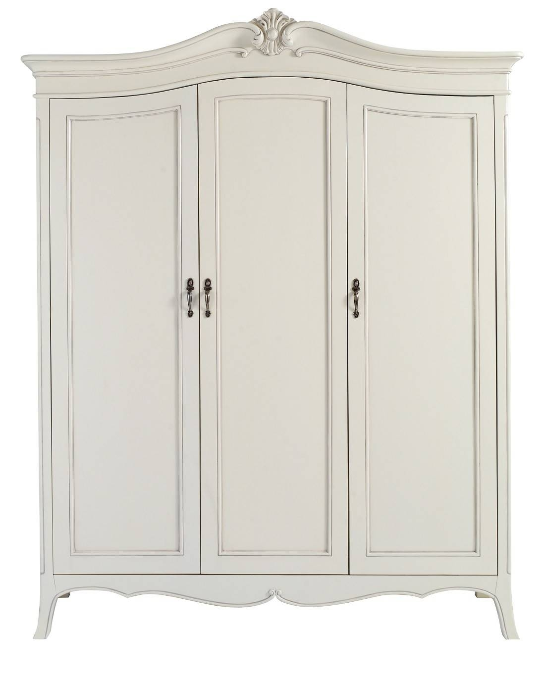 Louis French Ivory Painted 3 Door Triple Wardrobe | Oak Furniture Uk regarding Painted Triple Wardrobes (Image 10 of 15)