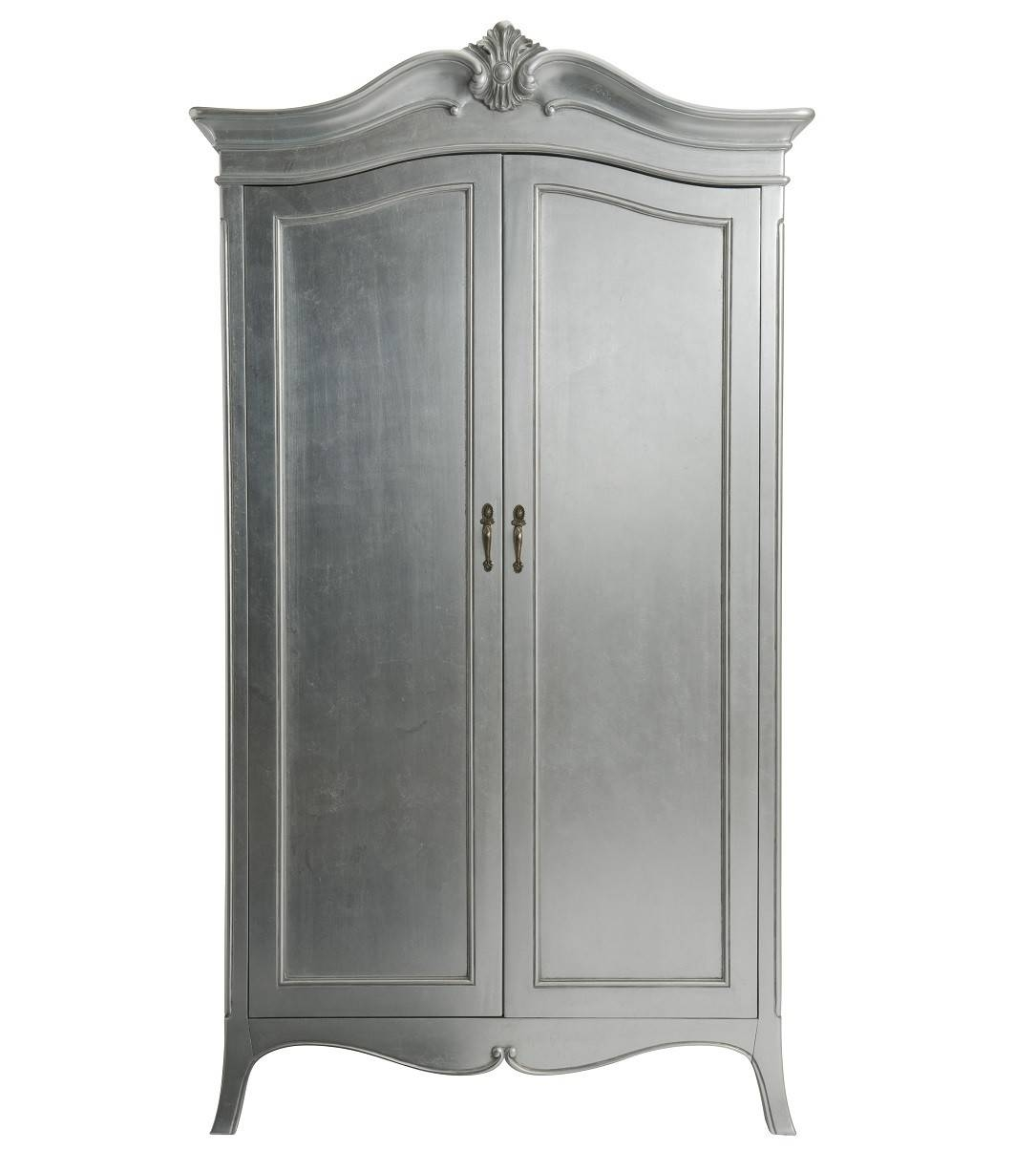 Louis French Silver Leaf 2 Door Double Wardrobe | Oak Furniture Uk in Black French Wardrobes (Image 14 of 15)