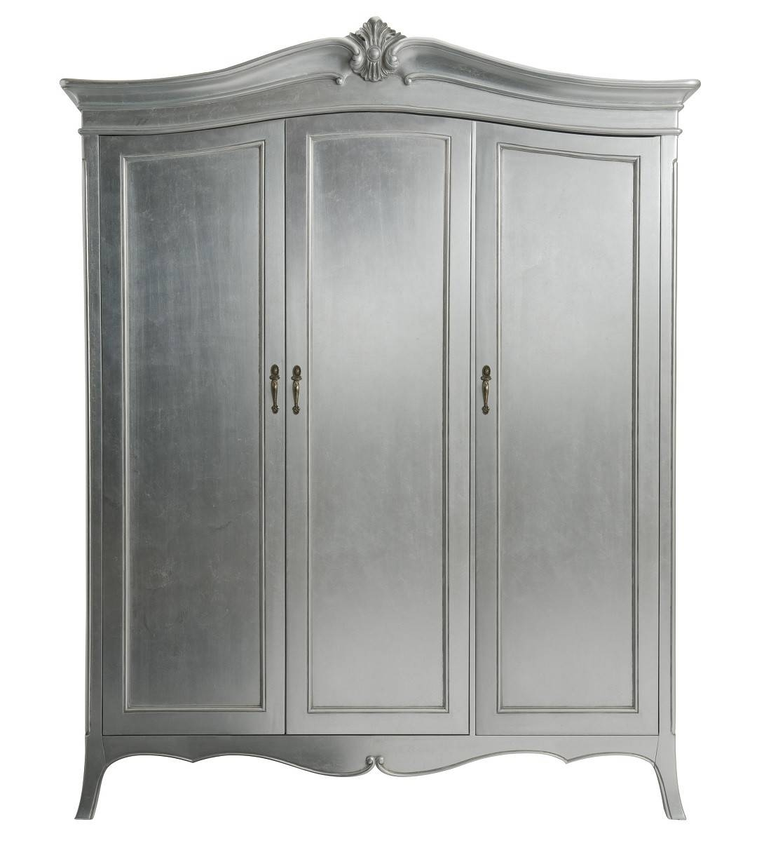 Louis French Silver Leaf 3 Door Triple Wardrobe | Oak Furniture Uk for 3 Door French Wardrobes (Image 10 of 15)
