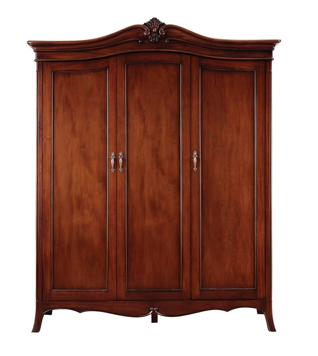 Louis French Solid Mahogany 3 Door Triple Wardrobe | Oak Furniture Uk regarding 3 Door French Wardrobes (Image 11 of 15)
