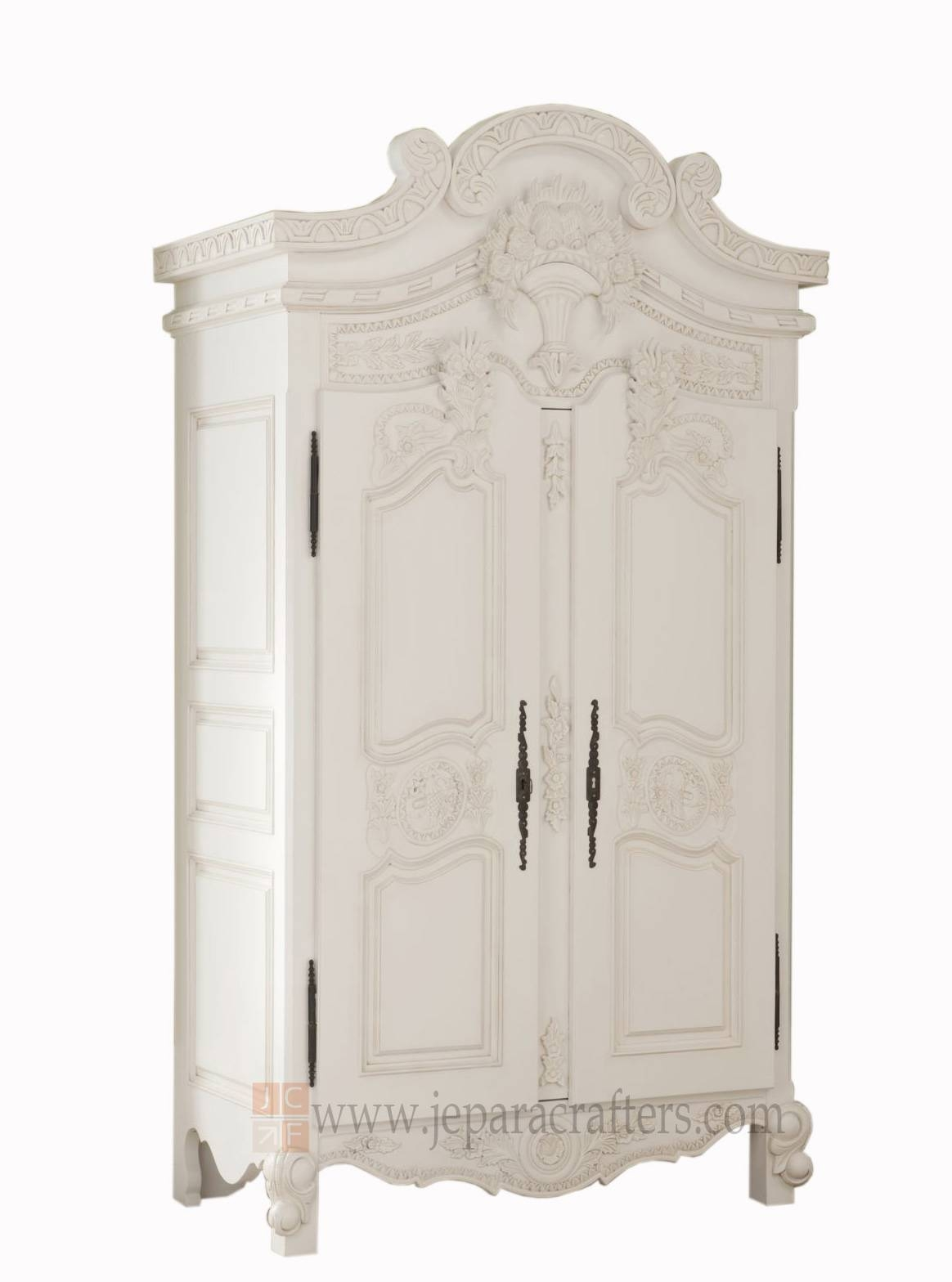 Louis French White Furniture Armoire Wardrobe Indonesia Manufacturer throughout French White Wardrobes (Image 12 of 15)