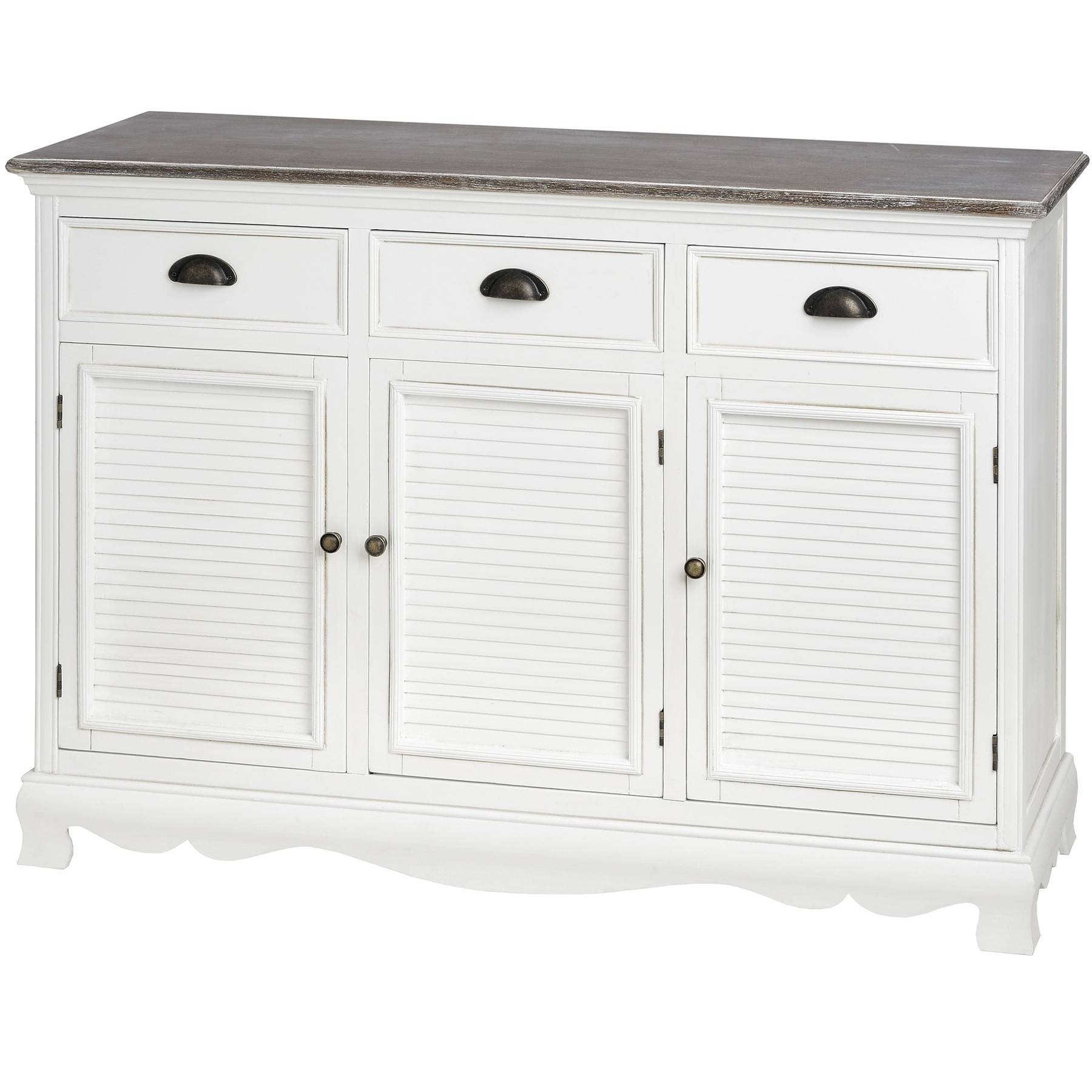 Louisiana Large White Sideboard With 3 Doors| Bedroom Furniture Direct pertaining to Fully Assembled Sideboards (Image 22 of 30)