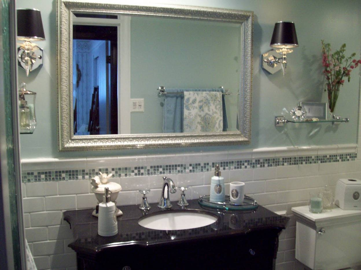 Lovely Framed Silver Bathroom Mirrors 22 On With Framed Silver pertaining to Silver Glitter Mirrors (Image 16 of 25)