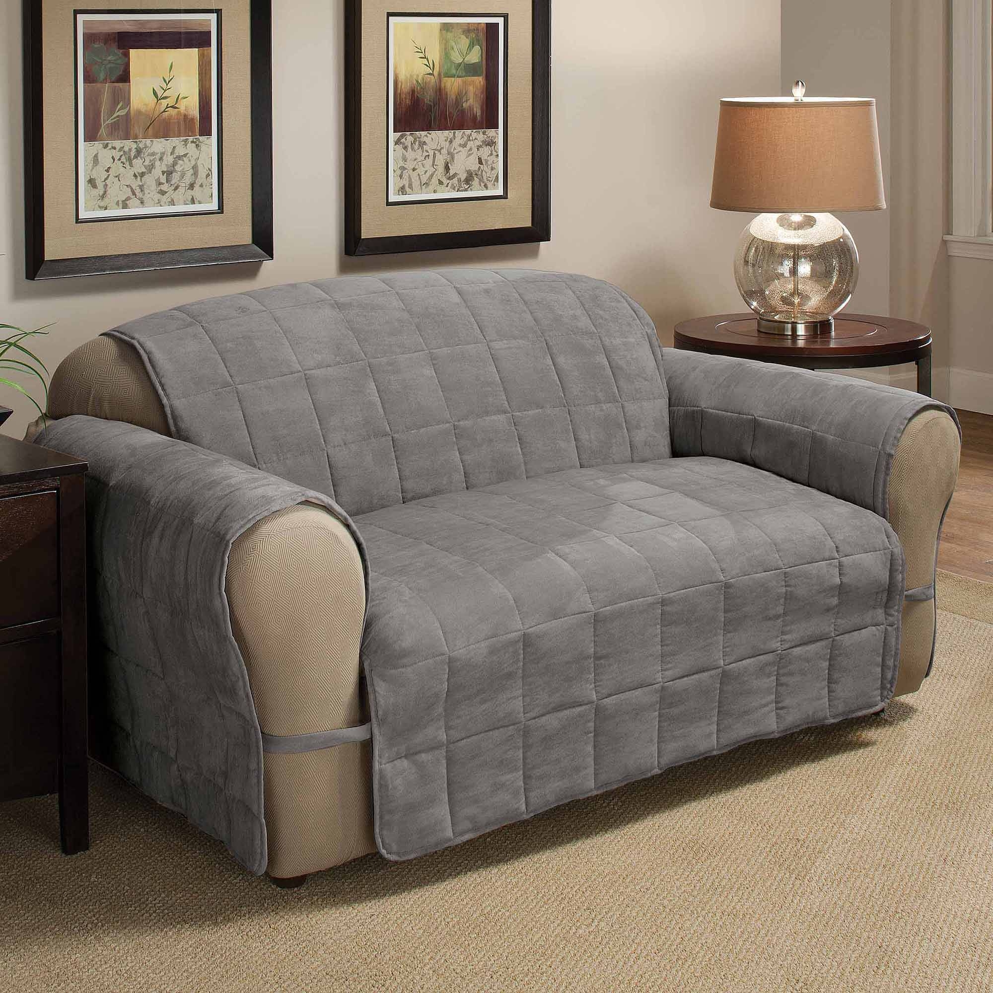 Loveseat Slipcovers Slipcovers - Walmart within Sofa Loveseat Slipcovers (Image 17 of 30)