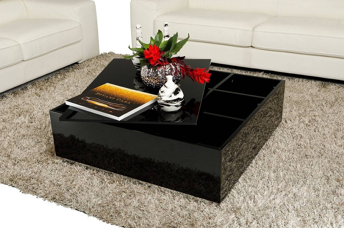 Low Black Coffee Table With Storage | Coffee Tables Decoration regarding Black Coffee Tables With Storage (Image 24 of 30)