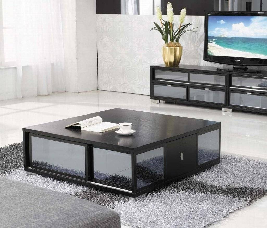 Low Black Coffee Table With Storage | Coffee Tables Decoration with regard to Big Low Coffee Tables (Image 24 of 30)