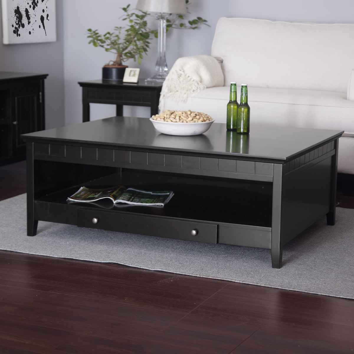 Low Black Coffee Table With Storage | Coffee Tables Decoration with regard to Square Black Coffee Tables (Image 24 of 30)