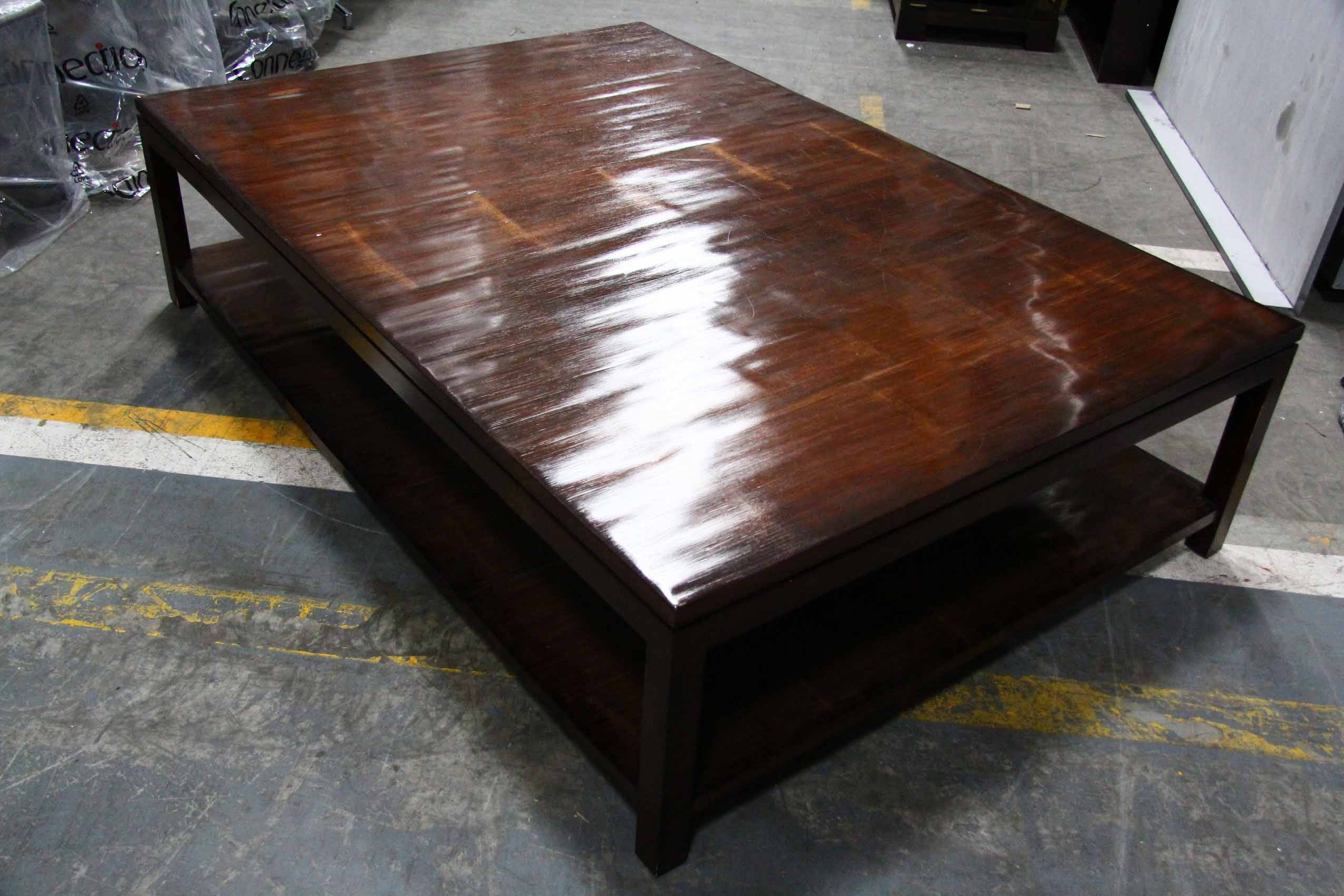 Low Square Dark Wood Coffee Table | Coffee Tables Decoration intended for Extra Large Low Coffee Tables (Image 21 of 30)