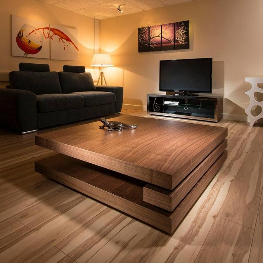 Low Square Dark Wood Coffee Table | Coffee Tables Decoration Pertaining To Large Low Wood Coffee Tables (View 4 of 30)
