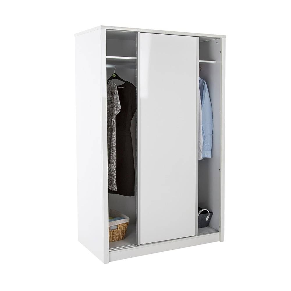 Lpd Furniture Novello White High Gloss Sliding Wardrobe | Leader throughout High Gloss Sliding Wardrobes (Image 10 of 15)
