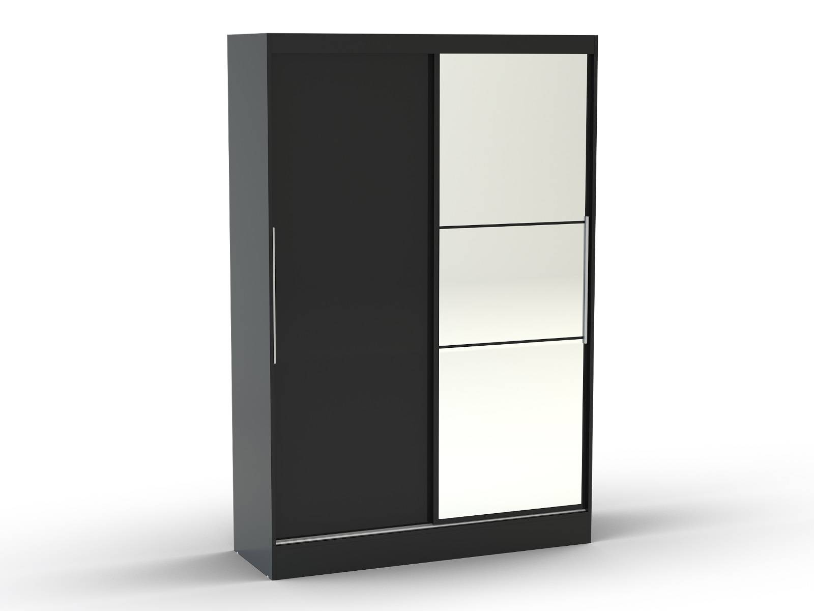 Lucerne Sliding Wardrobe With Mirror (Black) | All Ranges pertaining to Black Wardrobes (Image 5 of 15)