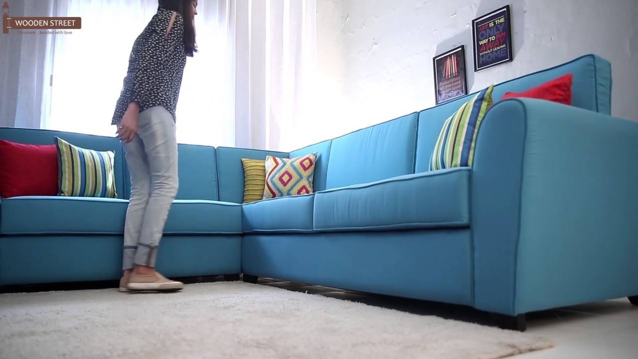Lucian L Shape Fabric Sofa (Aqua Marine) - Youtube intended for L Shaped Fabric Sofas (Image 18 of 30)