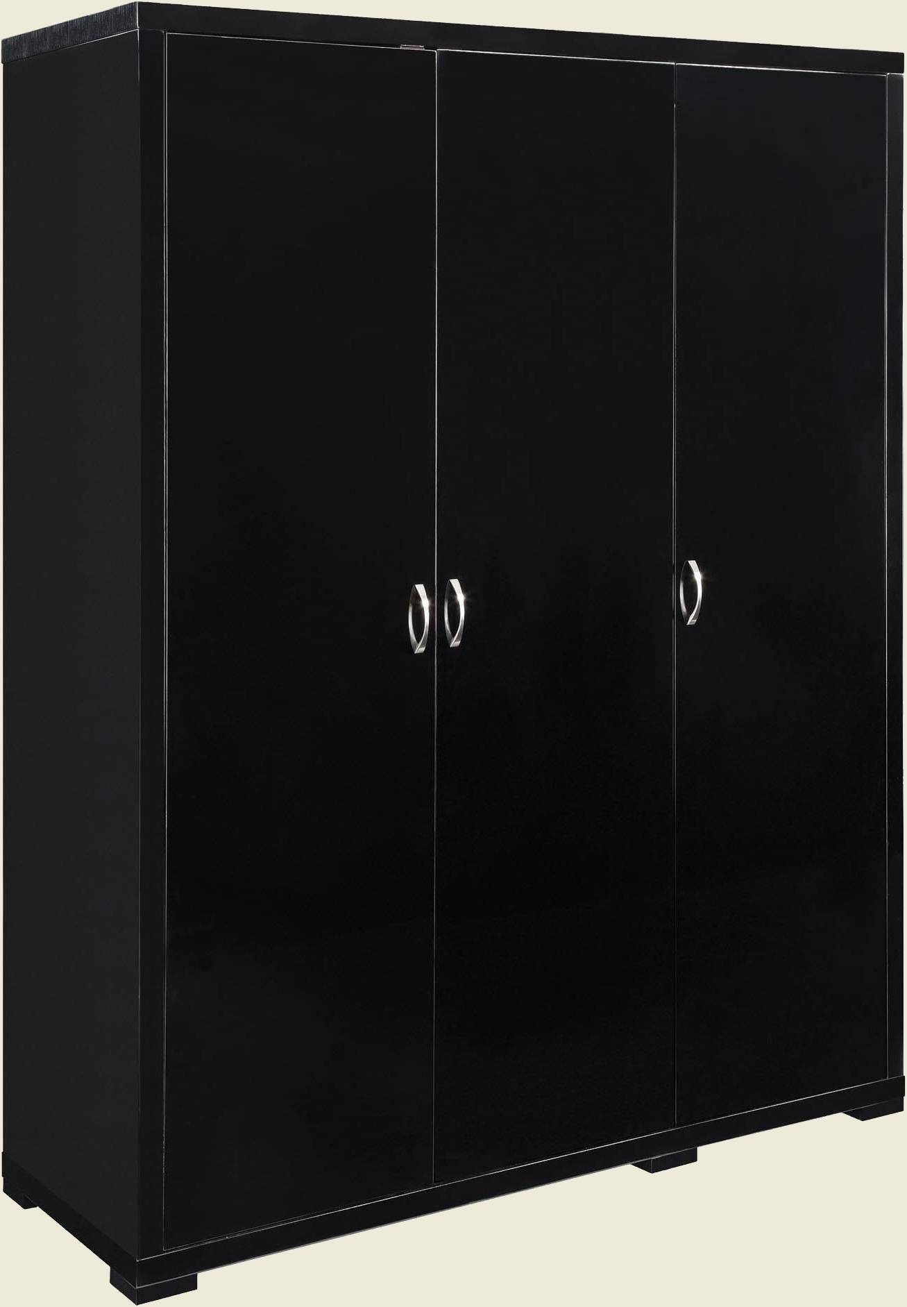 Luna 3 Door Wardrobe in Black 3 Door Wardrobes (Image 14 of 15)